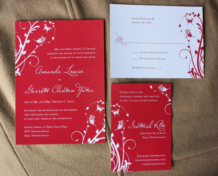 Beautiful Red And White Swirl Vines With Butterflies Wedding Invitations