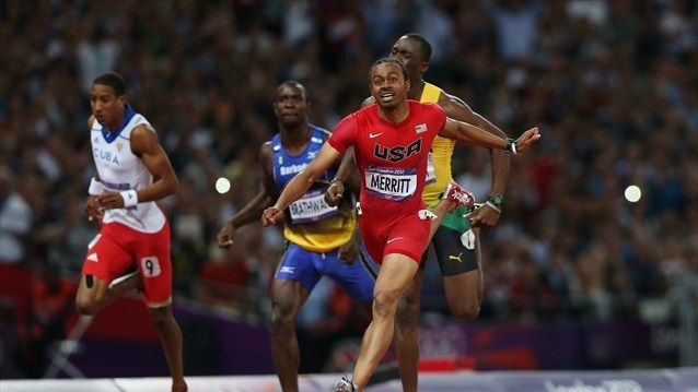Aries Merritt of the USA wins gold in hurdles day 12