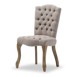 baxton studio clemence french provincial inspired weathered oak beige linen upholstered dining side chair affordable modern
