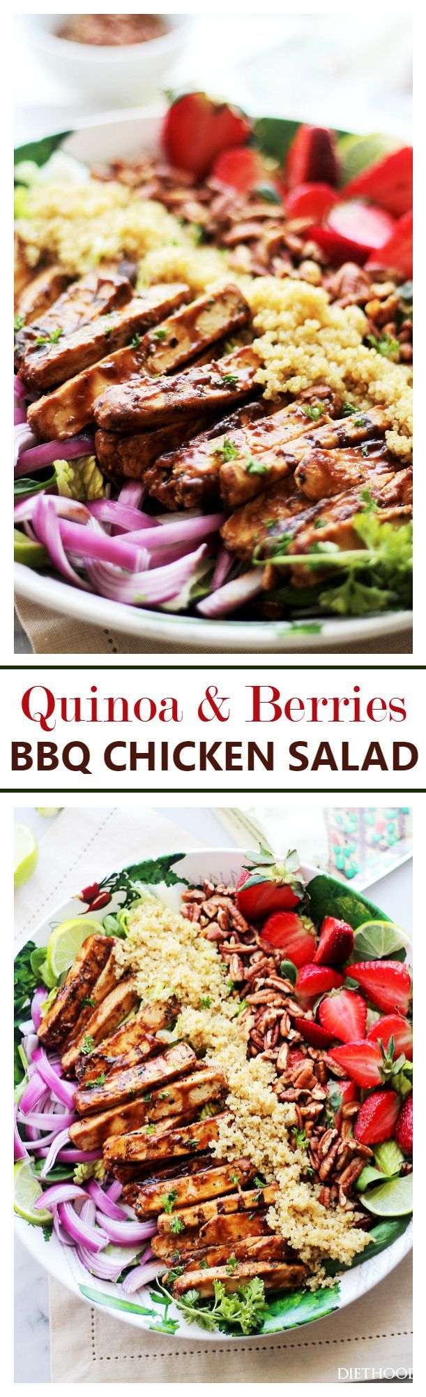 """Quinoa and Berries Barbecue """"Chicken"""" Salad"""