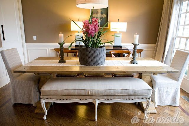 The bench: Dining Rooms, Benches, Chairs, Paintings Colors, Rustic Tables, Wood Tables, Farmhouse Tables, Farms Tables, Dining Tables