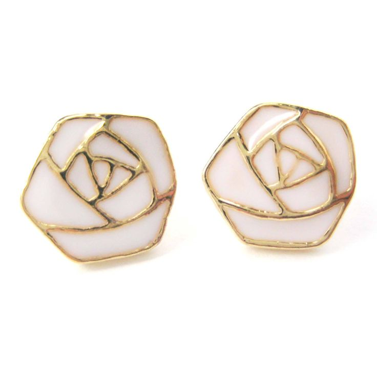 - Details - Sizing - Shipping A pair of abstract rose shaped stud earrings in white on gold! For more floral themed jewelry or these earrings in black just visit our store! These are not made with ste