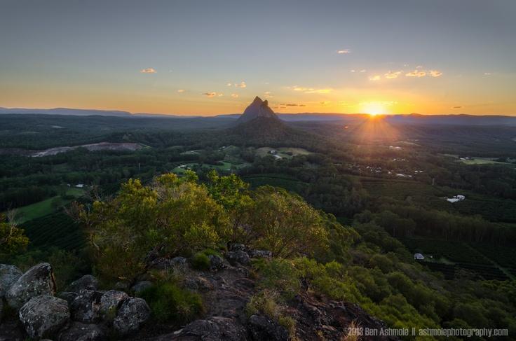 Sunset From Mt Ngungun, Glasshouse Mountains National Park, Queensland, Australia