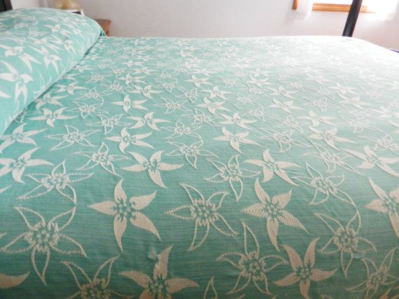 1940s Bates Monument Turquoise Bedspread  76 by SnowyCreekDesigns