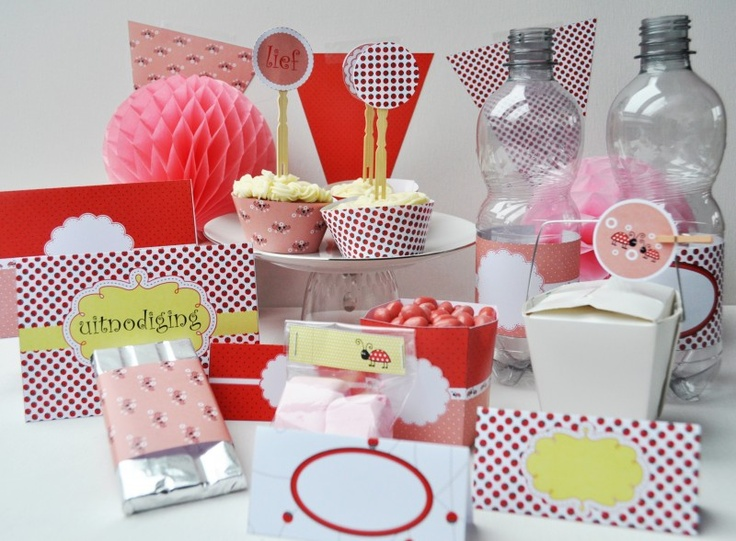 printables to create a sweet lady bug party.  Printables om een lief lieveheersbeestje feestje te organiseren