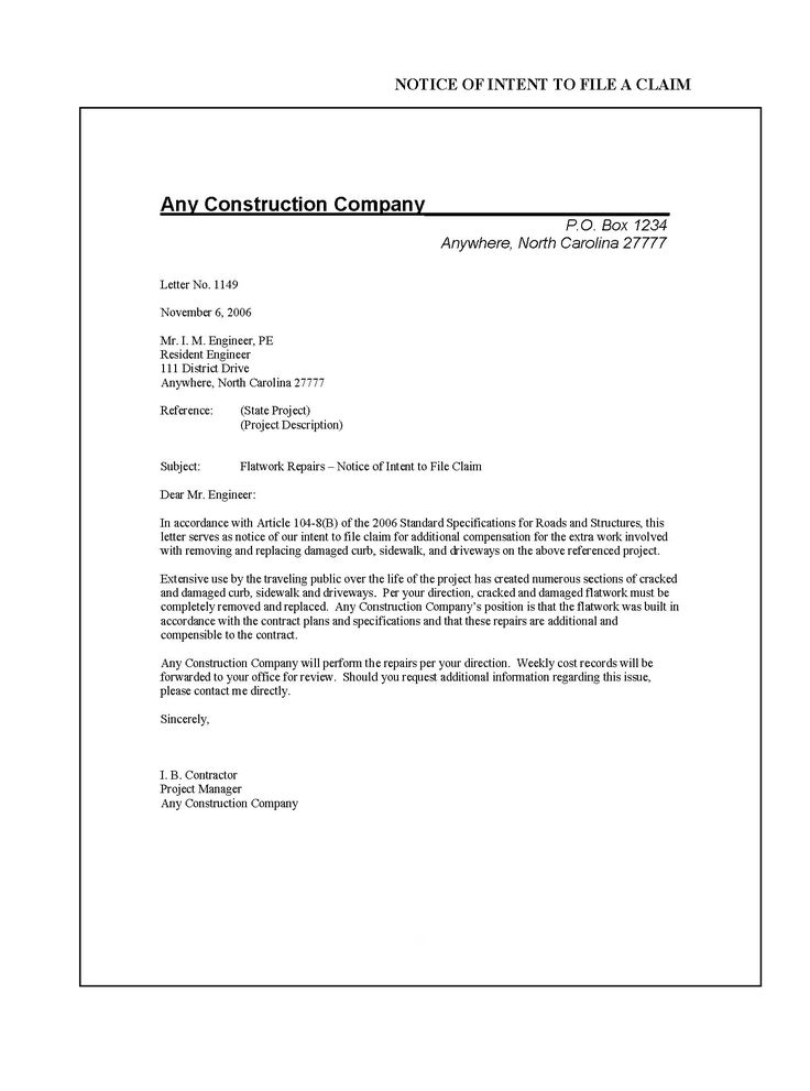 Construction Manual Connect Ncdot Letter Intent For Job Templates