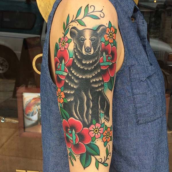 woman arm bear tattoo
