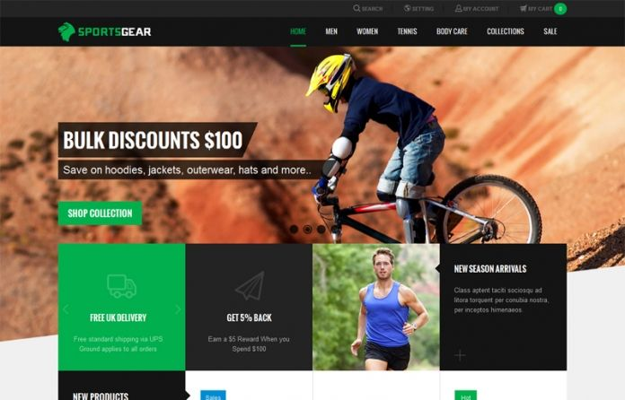 """""""JM SportsGear"""" Responsive #Magento theme well-suited for any #eCommerce sites about #sport apparel & equipment. The theme is unique with the #flat design."""