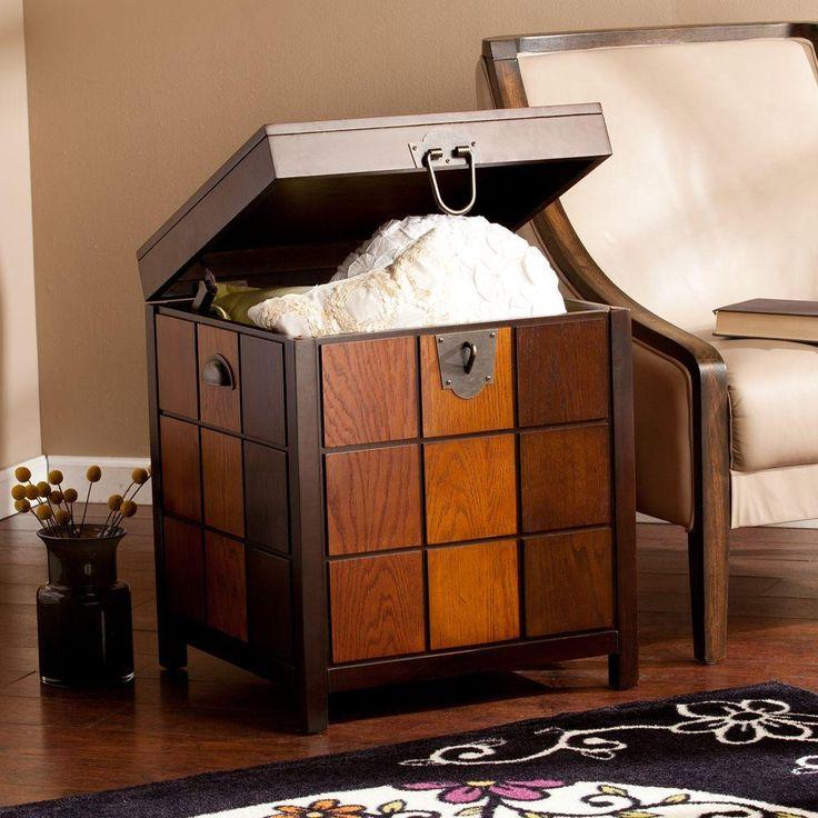 albert espresso trunk end table espresso with multitonal wood accents
