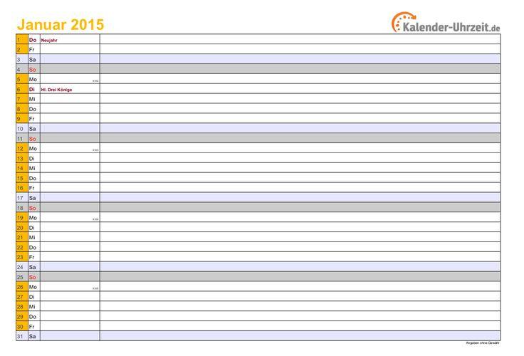 Kalender 2015 in GELB - A4, Querformat, 12-SEITIGER Monatskalender #KalUhr