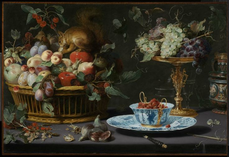 Frans Snyders, Still Life with Fruit, Wan-Li Porcelain, and Squirrel, 1616, oil on copper, Museum of Fine Arts, Boston