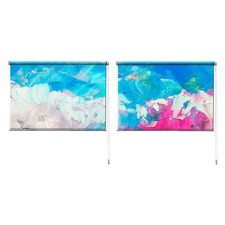 Duo rolgordijn Oil painting | De duo rolgordijnen van YouPri zijn iets heel bijzonders! Maak keuze uit een verduisterend of een lichtdoorlatend rolgordijn. Inclusief ophangmechanisme voor wand of plafond! #rolgordijn #gordijn #lichtdoorlatend #verduisterend #goedkoop #voordelig #polyester #duo #twee #verf #kunst #schilderij #blauw #roze #schilderen