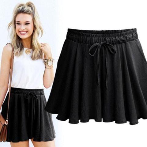 JUJULAND Plus Size Shorts Women Loose Casual High Waist Shorts Cotton Wide Leg Black Shorts 2018 Short Feminino Skirt Shorts 1