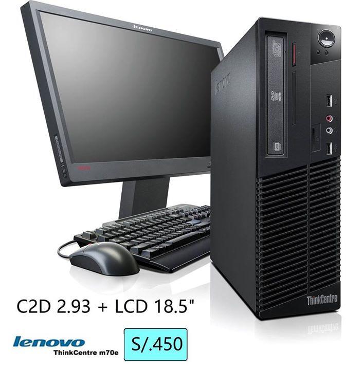 "OFERTA: COMPUTADORA COMPLETA LENOVO .....S/. 450 ================================================ * PC Lenovo ThinkCentre M70e C2D 2.93 Ghz Intel + LCD 18.5"" * Procesador Intel E7500 C2D 2.93Ghz  3MB Bus 1066Mhz * Memoria RAM DDR3 DE 2GB BUS 1066/1333 MHZ * Disco Duro de 320GB SATA  7200rppm * Placa Intel G41 Express Con Slot PCI Express 16x * Video Integrado Intel GMA x4500 de 1GB DDR3 * 8 Puesrtos USB /  1 VGa /  1 Red RJ45  * DVD Multigrabador RW+ Sata * Incluye Teclado y Mouse Lenovo PS2…"