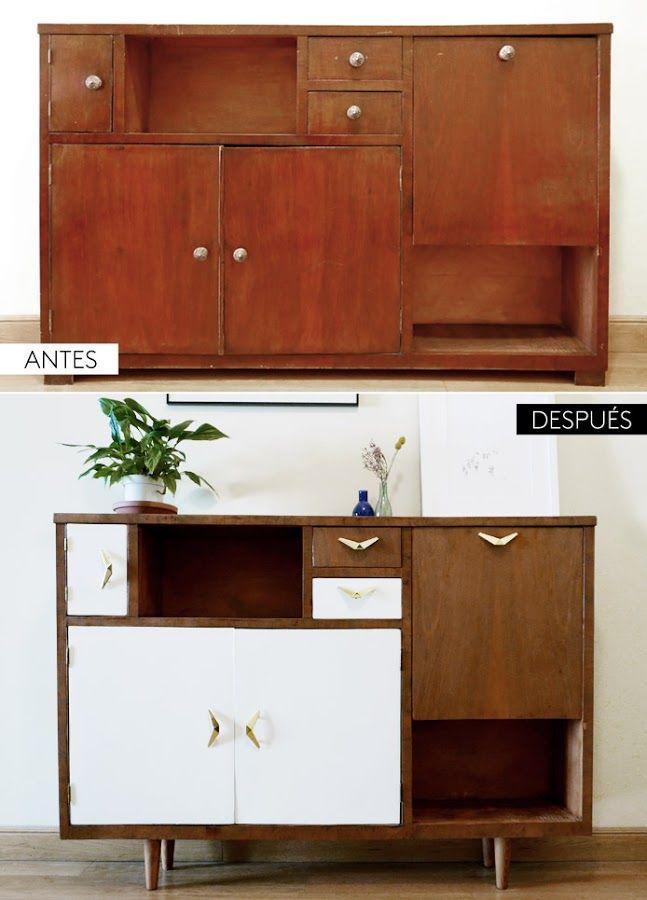 Antes y después de un mueble renovado