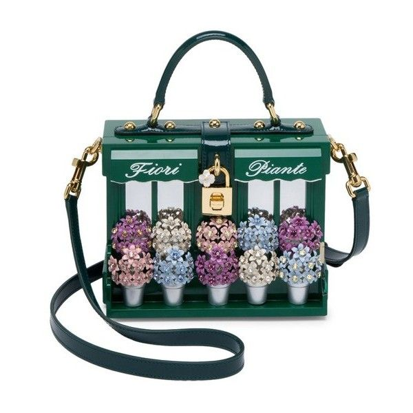 Dolce  Gabbana Fiori Piante Wooden  Leather Top Handle Bag ($11,000) ❤ liked on Polyvore featuring bags, handbags, clutches, green, dolce gabbana bags, flower print handbags, wood purse, floral purse and floral bags
