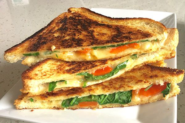Chargrilled capsicum and gouda toasted sarnies (toasted sandwiches) – Recipes – Bite