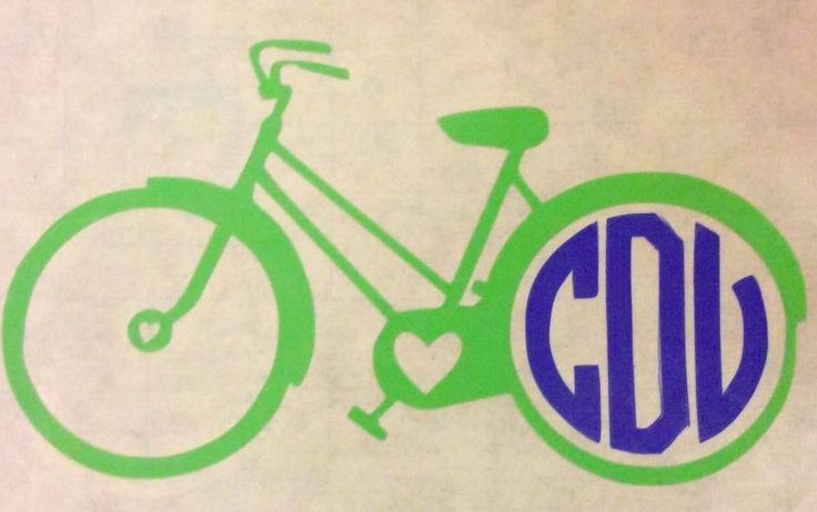 Bike with monogram vinyl decal. car, laptop, cell phone and MORE **SALE** #SCSassySouthernBelle #Traditional