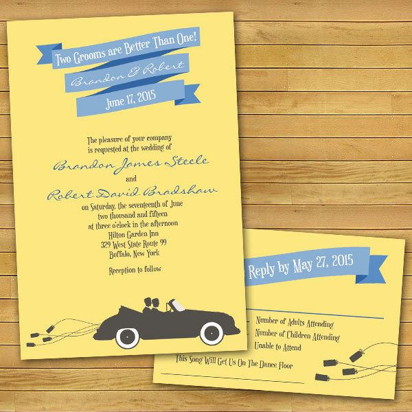 """Convertible Same-Sex Wedding Invitations: """"Two Grooms Are Better Than One"""" by InviGAYtions:"""