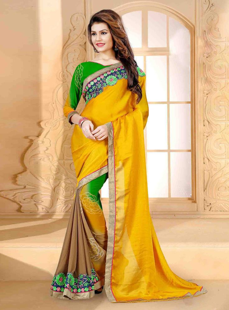 Yellow Georgette Printed Saree With Blouse 80811