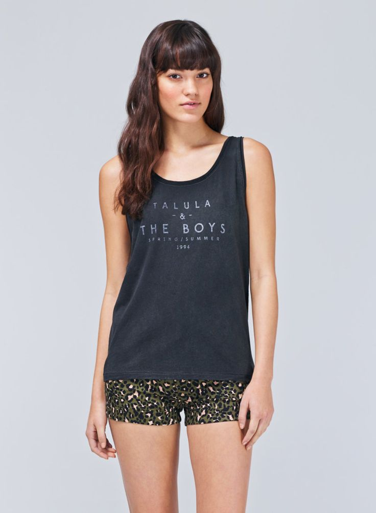 TALULA INGLEWOOD TANK - A girl-meets-boy silhouette with a super-soft wash and custom graphic  love the cut