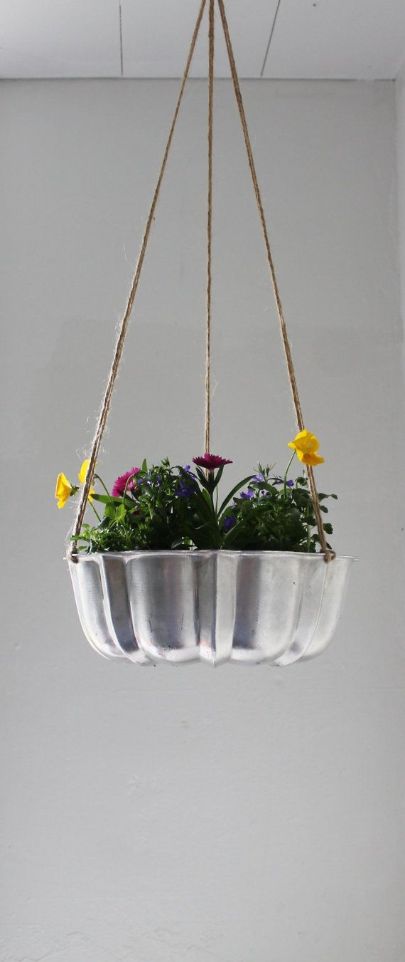 Shining Silver UpCycled Bundt Cake Planter by BootsNGus on Etsy