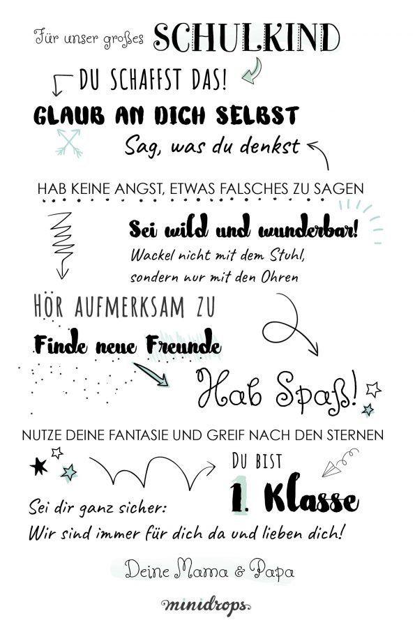 Schulkind-Spruch-Meilenstein-Poster