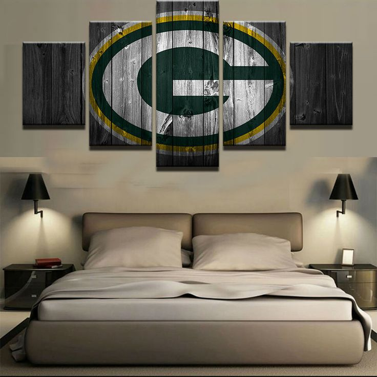 Large Framed Green Bay Packers Football Canvas Barn Wood Style