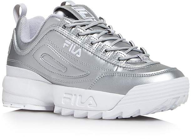 new product cc692 46d9a Fila Women s Disruptor II Premium Lace Up Metallic Leather Dad Sneakers