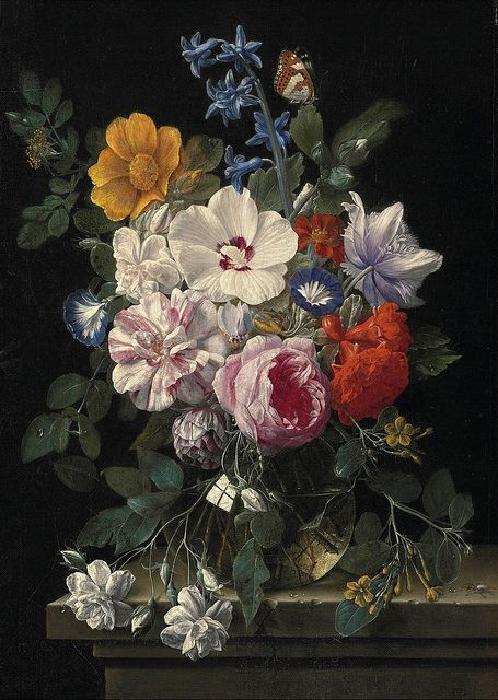 "Nicolaes van Veerendael [Flemish Baroque Era Painter, 1626-1691] - ""Flowers in a glass vase, butterfly and beetle on a stone ledge"" (17th century) - Oil on canvas - Private collection"