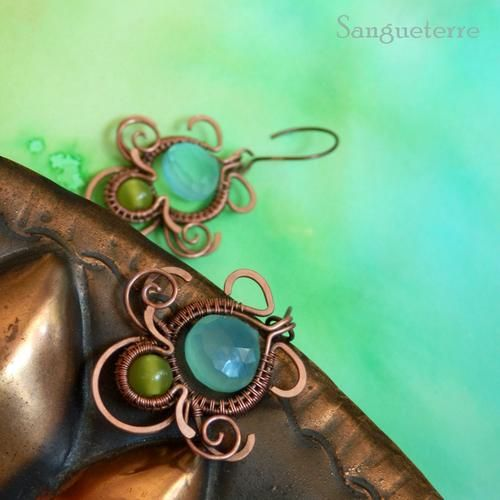 Okeana * sea fairy earrings * wirewrapping * wirewrapped * jewelry * copper * romantic * fantasy * fairy * elf * victorian * art nouveau * handmade