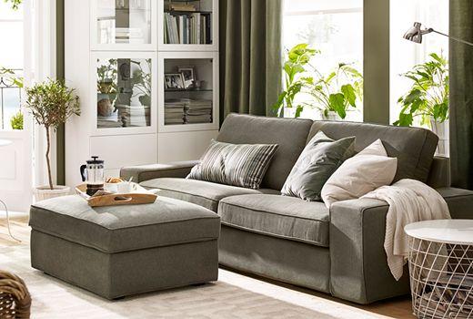 布製ソファ - 2人掛けソファ & 布製フットスツール&プーフ - IKEA イケアの布製ソファ