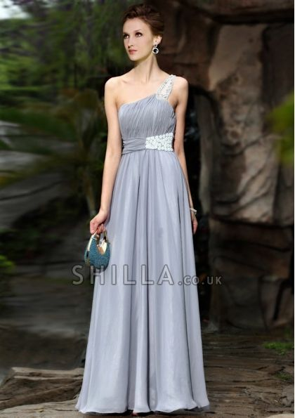 Beautiful Silver One-shoulder Prom Dresses With Beading