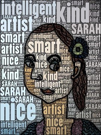 Sarah9528's art on Artsonia Students used the iPad to add six words about themselves into their self-portraits using the WordFoto app.  3rd grade