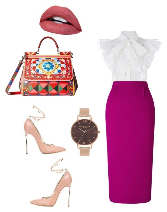Untitled #714 by mandiexoxo1 on Polyvore featuring polyvore moda style Roland Mouret Casadei Dolce&Gabbana Olivia Burton fashion clothing