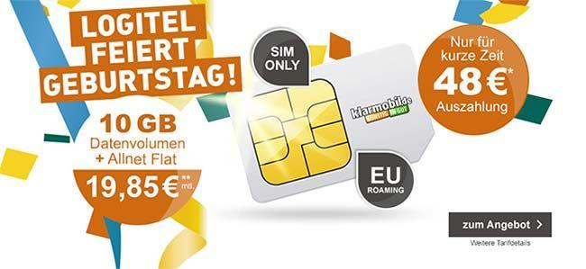 Klarmobil Allnet Flat 10 GB für 19,85€ mit 48€ Cashback ► Telekom Netz http://www.simdealz.de/telekom/klarmobil-smartphone-flat-angebote/