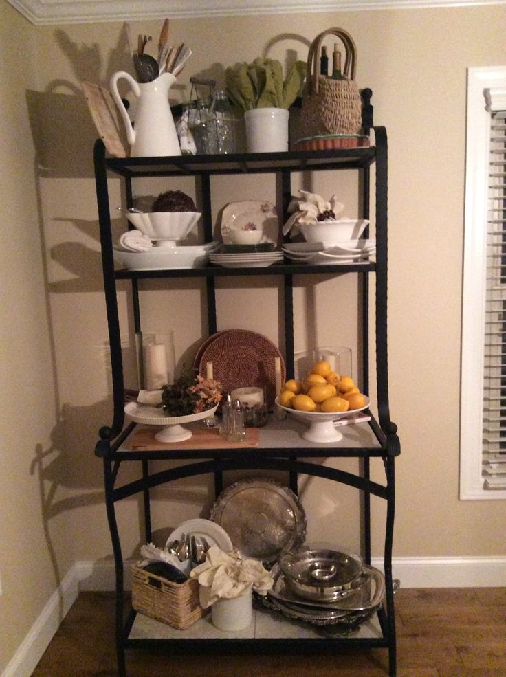 Farmhouse bakers rack vintage silver trays and white