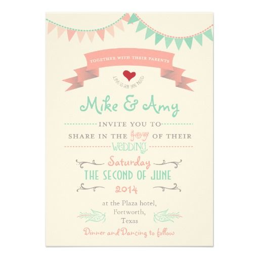 Vintage Bunting Whimsical Wedding Invitation LOVE THIS!