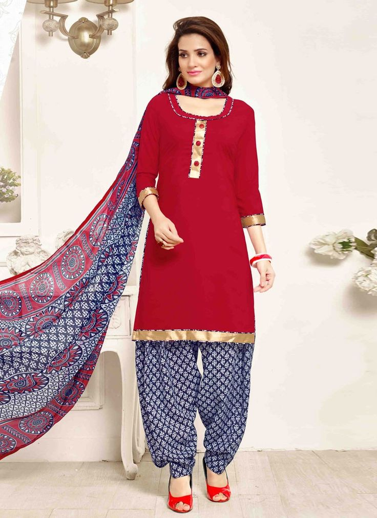 buy saree online Red Colour Crepe Border Lace Work Patiyala Dress Material Buy Saree online - Buy Sarees online