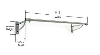 8ft Long Clothes Rail Wall Mounted Screw Fix Chrome