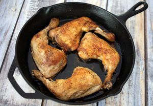 Garlic roasted chicken leg quarters are juicy and flavorful, and they're budget-friendly. Serve this easy chicken with roasted or mashed potatoes.
