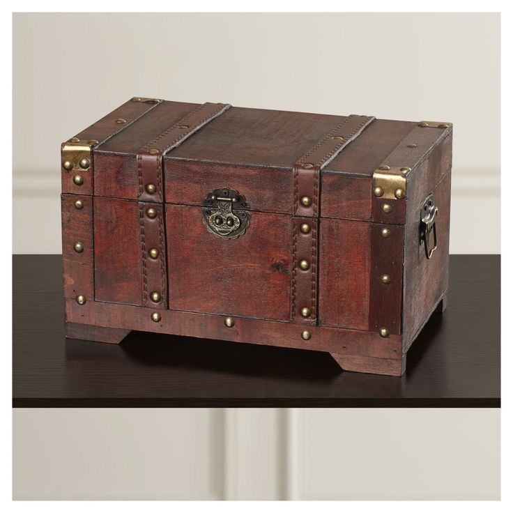 antique style wooden small trunk brown target