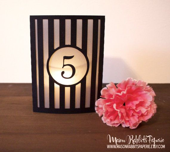Striped Box Luminary Wedding Table Numbers. Wedding Table Markers, Luminaries, Wedding Decor