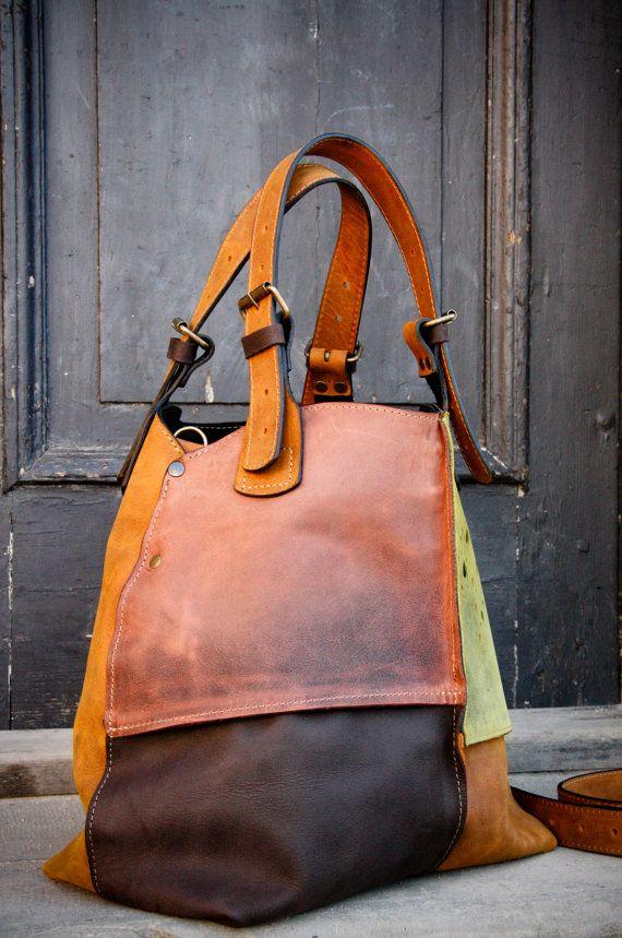 Oversized Bag ladybuq handmade leather handbag purses swiss bag convas bag tote bag on MXS Etsy, $230.00