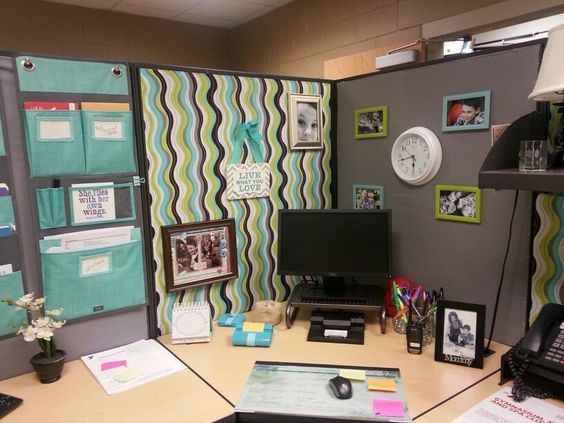 Best 25 cubicle ideas ideas on pinterest white desk for Cute cubicle ideas