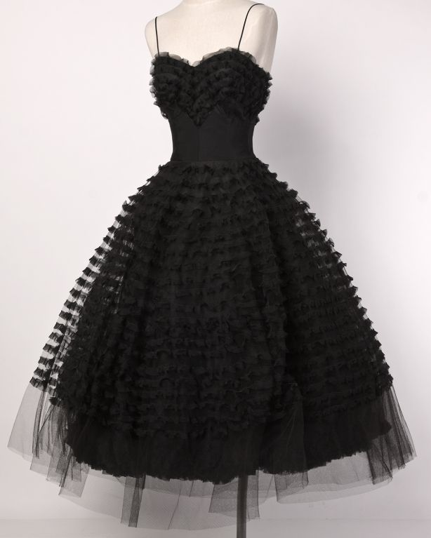 1950's Black Tiered Tulle Lace Cocktail Dress