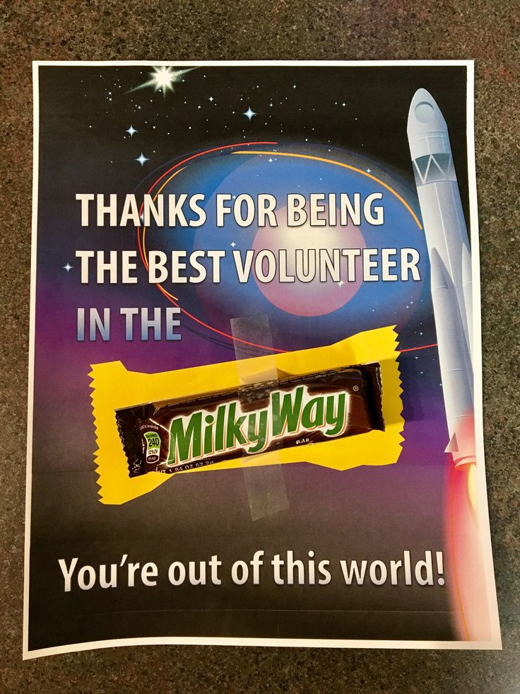 Free Milky Way Candy Bar Volunteer Appreciation Note