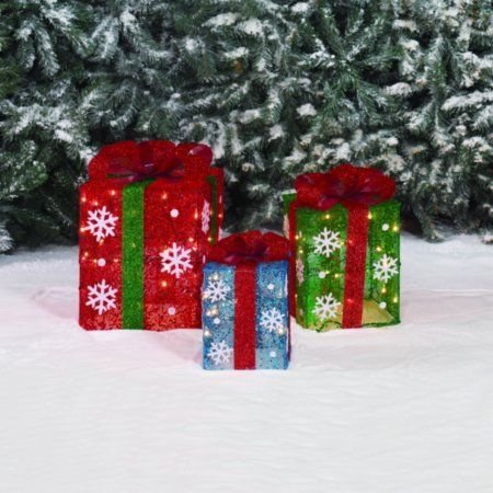 Outdoor 150 Lights presents Three Lighted Gift BOXES Christmas Holiday Indoor