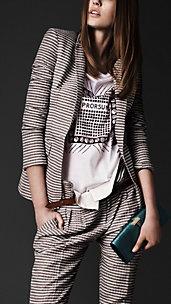 Striped Seersucker Tailored Jacket