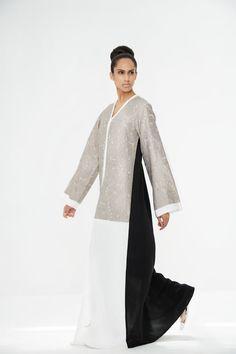 Arabesque kimono cut abaya with silk jacquard embellishment in combination with light crepe satin.